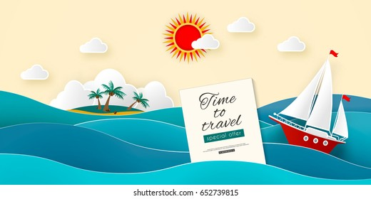 Sailboat in the sea. Island with coconut palms and beach in the ocean. Sun, clouds. Vector illustration for advertising, travel, tourism, cruises, travel agency, discounts and sales. Paper style