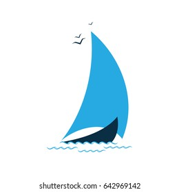 Sailboat in the sea. Logo for the tourist company, for sailing, regatta