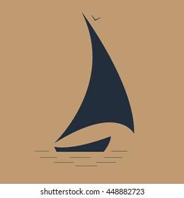 sailboat at sea/ seascape/ sailing