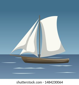 Sailboat in the sea, simple sailboat silhouette