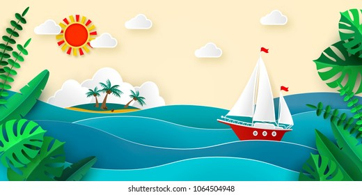 Sailboat in the sea, Sun Clouds Tropical island with beach and coconut palms, Tropical leaves, Vector illustration for advertising travel tourism cruises travel agency discounts and sales Paper style