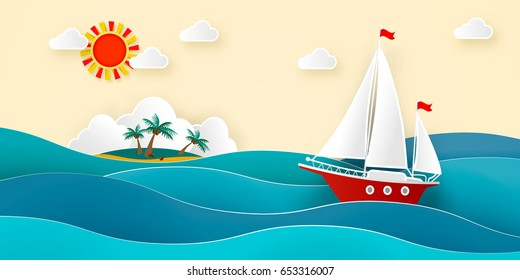 Sailboat in the sea. Sun, clouds, tropical island with a beach and coconut palms. Vector illustration for advertising, travel, tourism, cruises, travel agency, discounts and sales. Paper style