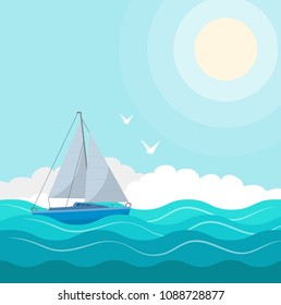 Sailboat in the sea. Sun, clouds. Vector illustration for advertising, travel, tourism, cruises, travel agency, discounts and sales.