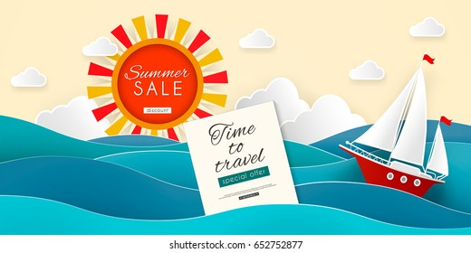 Sailboat in the sea. Sun, clouds. Vector illustration for advertising, travel, tourism, cruises, travel agency, discounts and sales. Paper cut