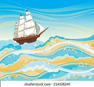 Sailboat and sea with waves and foam on a blue sky.