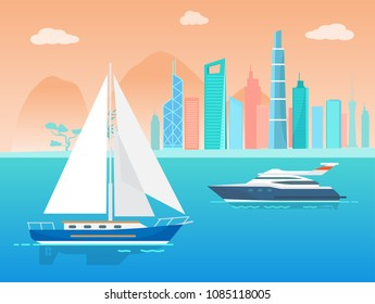 Sailboat and ship at city and skyscrapers collection, sailer and yacht, sky with clouds, tree and building, town and transport vector illustration