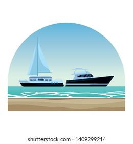 Sailboat ship marine travel vehicle machine sea exploration and yatch round shore frame background vector illustration graphic design