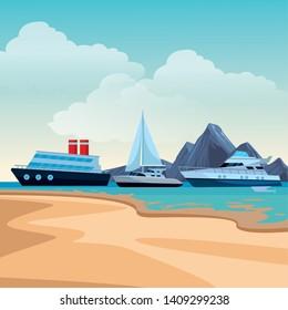 Sailboat ship marine travel vehicle machine sea exploration cruiseship and yatch beach shore background vector illustration graphic design
