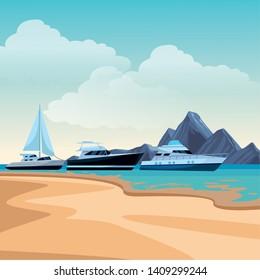 Sailboat ship marine travel vehicle machine sea exploration and yatch beach shore background vector illustration graphic design