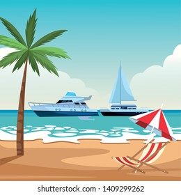 Sailboat ship marine travel vehicle machine sea exploration and yatch beach shore umbrella and chair with palm tree background vector illustration graphic design