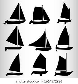 Sailboat silhouette icon set. A set of nine sports boats. Sea sport. Vector illustration.