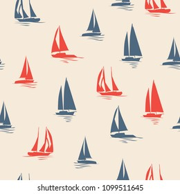 Sailboat silhouette vector seamless pattern. Marine red and blue illustration design