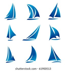 sailboat symbol set