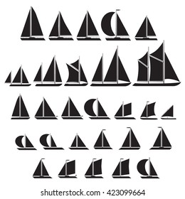 Sailboat symbol silhouette icon set.Vector illustration