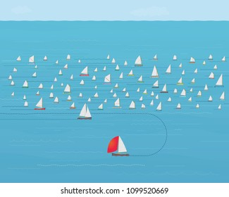 Sailboat turning around and leaving crowded Fleet, New Direction, Business Strategy Concept, Nautical , Illustration, Concepts & Topics, Data, Sailing, Timing, Precision, Knowing when to Quit, Change