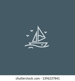 Sailboat vector icon. Sailboat concept stroke symbol design. Thin graphic elements vector illustration, outline pattern for your web site design, logo, UI. EPS 10.