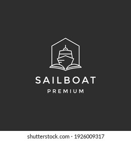 Sailboat vector icon. Sailboat concept stroke symbol design. Thin graphic elements vector illustration, on black background