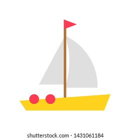 Sailboat vector, Summer Holiday related flat style icon