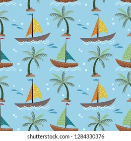 Sailboats and coconut tree seamless pattern