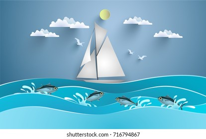 sailboats cross the beautiful sea with fish jumping. design paper art and crafts