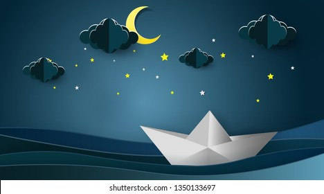 Sailboats on the ocean landscape with Moon and stars in night sky,Goodnight concept.Paper art style.