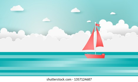 Sailboats on the ocean landscape with sea view on clear blue sky,Summer concept.Paper art style.