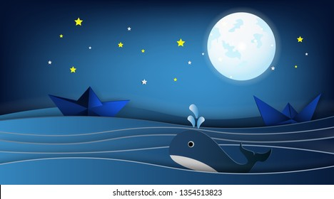 Sailboats on the ocean landscape with Whale and stars in night sky,Goodnight concept.Paper art style.