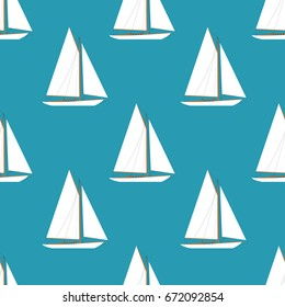 Sailboats in the open sea. Sailboat seamless pattern. Vector illustration in flat style