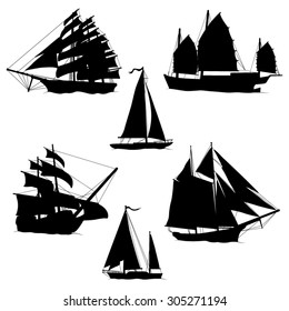 Sailboats and Sailing Ships Black Silhouettes- Vector illustration