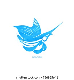 Sailfish logo and emblem template for your design. Watercolor texture. Silhouette vector illustration on crumpled paper background.