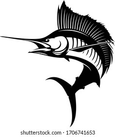 Sailfish logo, Solid, Unique & Masculine Vector of Sailfish Jumping out of the Water