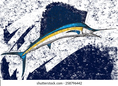 A Sailfish over an abstract background. The sailfish and background are on separately labeled layers.