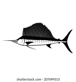 Sailfish Silhouette Isolated on White