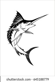 Sailfish Silhouette vector Isolated on White