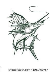 Sailfish vector graphic illustration.