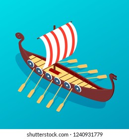 Sailing ancient wooden ship with oars. Sea retro transport, an ancient means of transportation on water. Navigational passenger and cargo ship, galleon, military warship sea travel. Isometric vector.