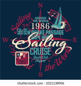 Sailing around the world yacht club, vector print for boy wear with embroidery badge