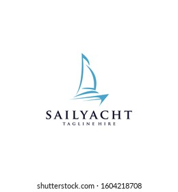 Sailing Boat Blue Sailboat On the Blue Water yacht the sails on the boat Vector Design