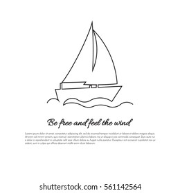 Sailing boat continuous line drawing element isolated on white background for logo or decorative element. Vector illustration of ship form in trendy outline style.