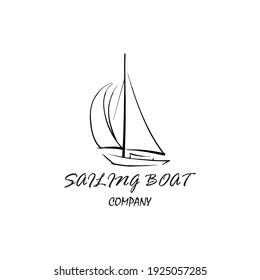 Sailing boat design hand drawings. Simple sailboat logo template. sailboat logo creative ideas