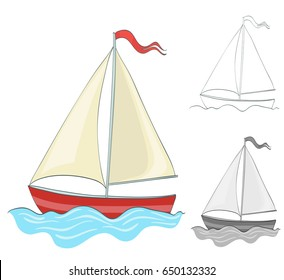 sailing boat drawing with coloring and grayscale version. vector illustration