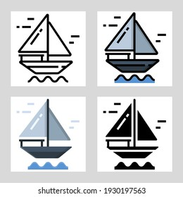 Sailing boat icon vector design in filled, thin line, outline and flat style.