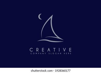 sailing boat logo design vector inspiration
