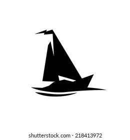 Sailing boat logo. Flat symbol with flag at the top.