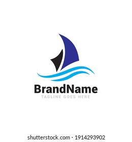 Sailing boat logo icon vector template.