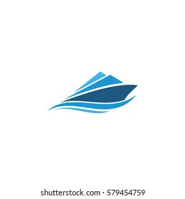 sailing boat logo icon vector template