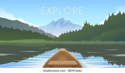 Sailing boat. Mountain landscape. Mountain lake. Outdoor recreation. Vector illustration.