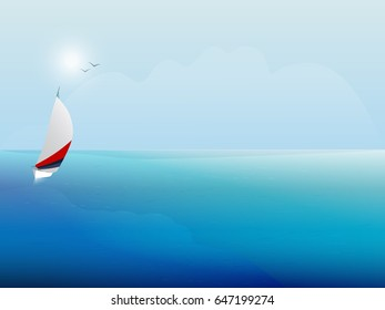 Sailing boat on the blue sea. Yacht and ocean. Background.