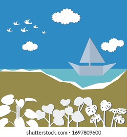 Sailing boat on the sea and white pigeons birds flying on blue sky.