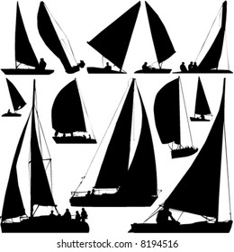 sailing boat race vector